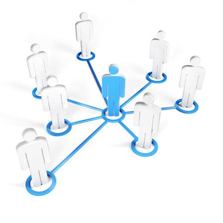 la union hace la fuerza: Grupo de los hombres vinculados a la líder del grupo, con líneas blancas y azules