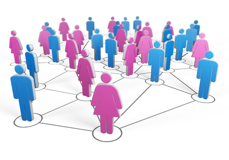 Silhouette of group of men and women connected together by wires make up the social network
