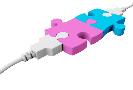 network connection plug: Two pieces of the puzzle are joined together and both are connected to the usb cables Stock Photo