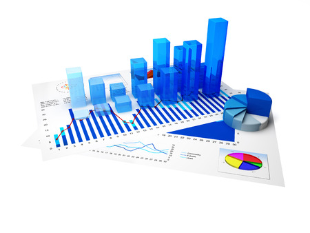 Financial charts and statistics on paper with white background