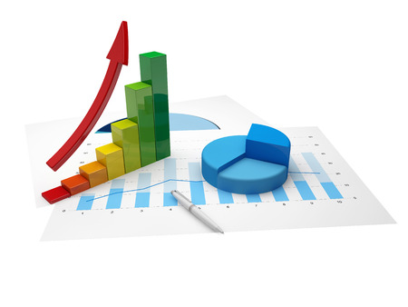 Financial charts and statistics on paper with up arrow Stock Photo