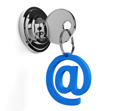 keyring: Lock with mail keyring and white background Stock Photo