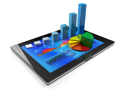Tablet with graph bar and pie chart, white background