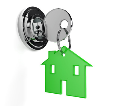 keyring: Lock and key with home shaped keyring home, white background