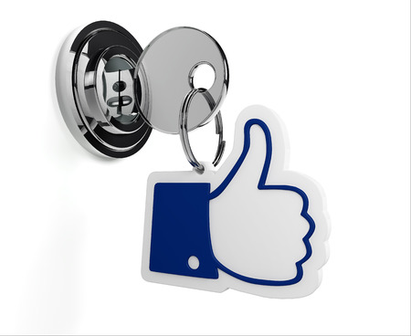 social security: Lock with like keyring and white background