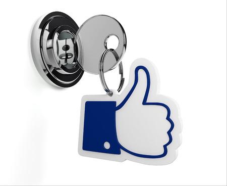 safe house: Lock with like keyring and white background