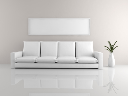 A room with a minimalist white sofa and a picture frame photo