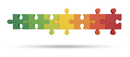 formed: Energy scale formed from pieces of the puzzle, white background