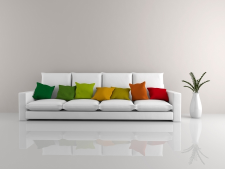 A room with a minimalist white sofa covered in colorful pillows and a vase of flowers Standard-Bild