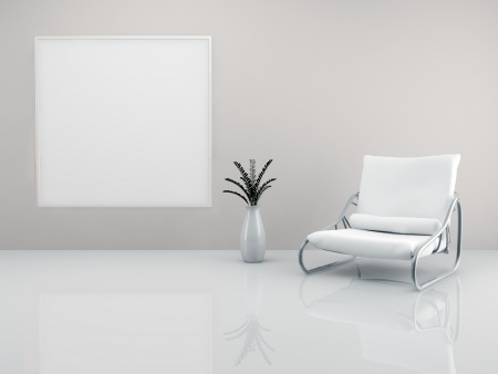 A room with a minimalist white armchair and a picture frame