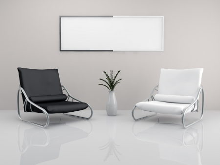A room with a two minimalist white and black armchair and a picture frame photo