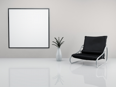 A room with a minimalist black armchair and a picture frame