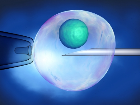 A needle penetrates the outer membrane of a cell, blue background. photo