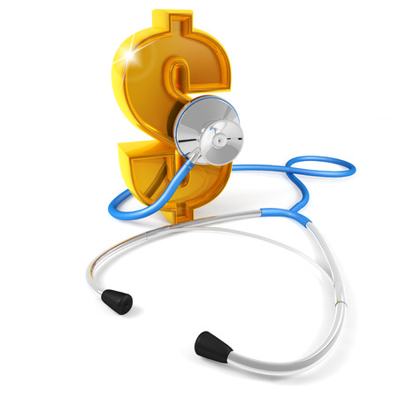 savings problems: A stethoscope checking the heartbeat of the dollar, white background