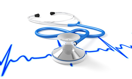 A stethoscope rests on a graph of an ECG, white background photo