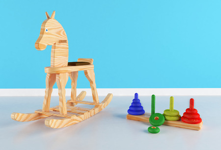 babyroom: Wooden rocking horse and toy in a bedroom