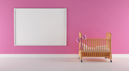 Cradle of a little girl with pink wall and floccule photo