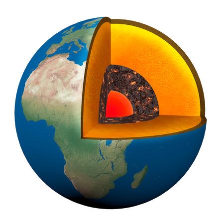 溶岩、nucleno、地球の地殻と地球のセクション 写真素材