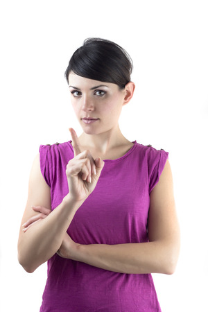 average woman: brown-haired girl does not sign with the finger Stock Photo