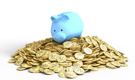 pile of coins: Piggy bank on a pile of one-dollar coins