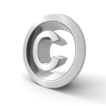 silvered: Silvered copyright symbol with a white  Stock Photo