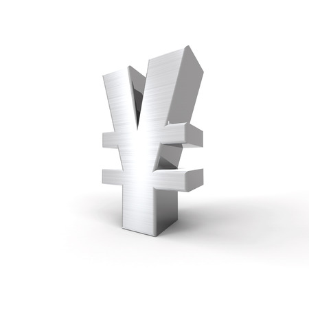 silvered: Silvered Yen Symbol with a white