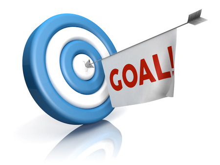 A blue-white target with arrow and goal word in a flag photo