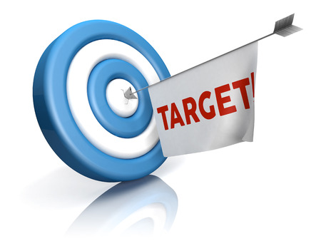 A blue-white target with arrow and target word in a flag photo