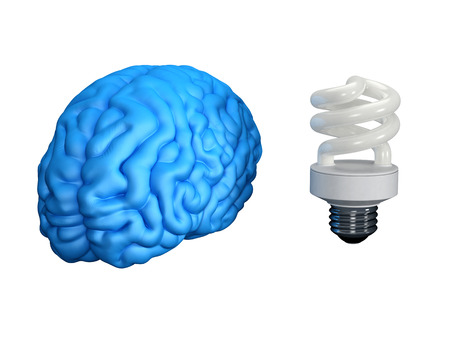 energysaving: Blue human brain with an energy-saving bulb