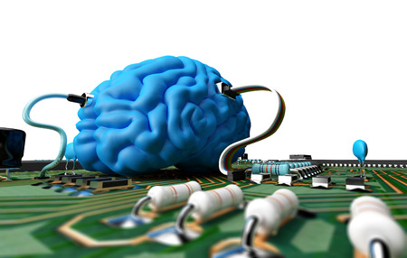 Electrical circuit with various components interfaced with a brain Stock Photo