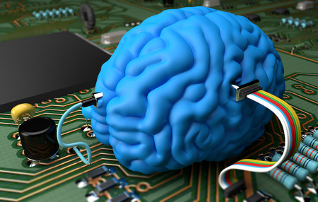 Electrical circuit with various components interfaced with a brain photo