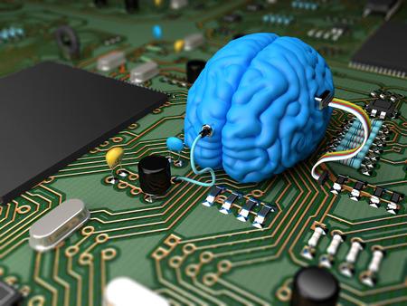 Circuit électrique avec divers composants interfacé avec un cerveau Banque d'images - 29210220