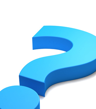 interrogation mark: Blue question mark symbol seen close up, white background