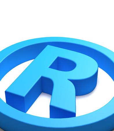 warrant: Blue trademark symbol seen close up, white background