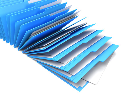 secretarial: Row of blue binders of documents, white background