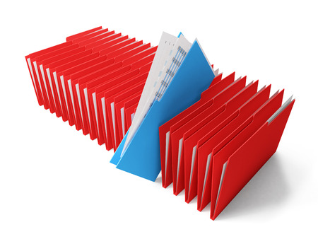 blinder: Row of red binders of documents with a blue coming out Stock Photo