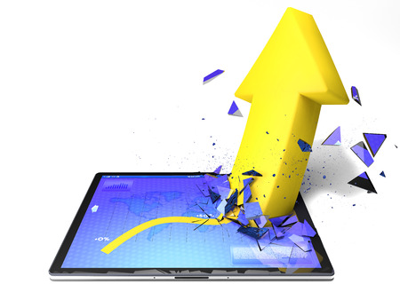 breaks: Tablet with a graph and yellow arrow who breaks the display Stock Photo
