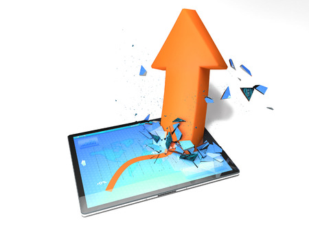 breaks: Tablet with a graph and orange arrow who breaks the display Stock Photo