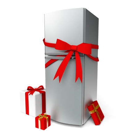 Metal fridge with red bow and gifts photo