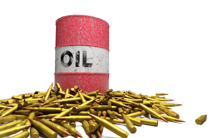 chemical weapon symbol: Oil drum above a pile of ammunition