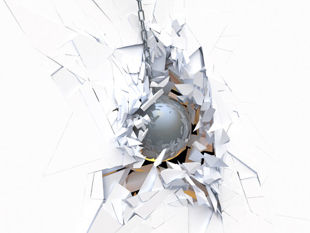 Metal ball destroys the wall in the background Stock Photo