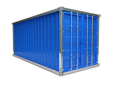 A metal blue ship container with white background