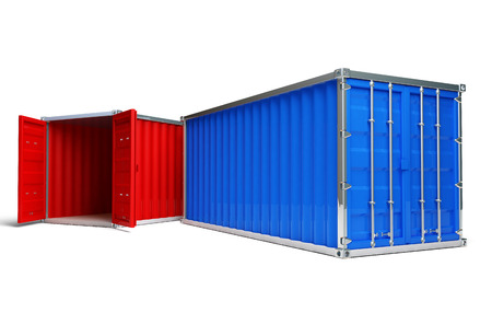 Two metal ship containers with white background
