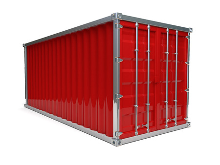 A metal red ship container with white background Reklamní fotografie