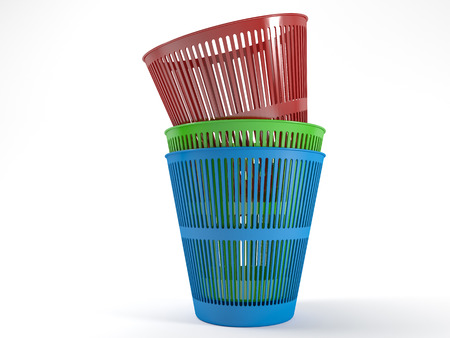 waste heap: Pile of three colored plastic waste bins with a white background