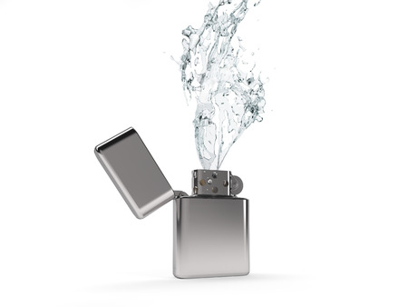 gas lighter: Lighter diesel emits a flame of water, white background