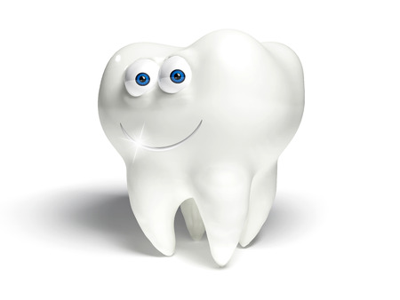 carious cavity: Molar with eyes and mouth smiling, white background