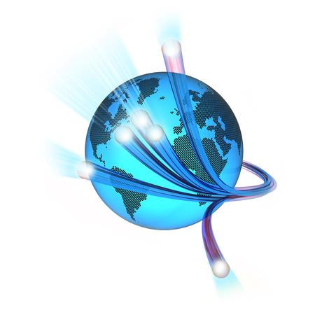 World surrounded by the optical fiber, white background Standard-Bild