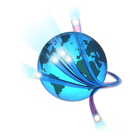 World surrounded by the optical fiber, white background Stockfoto