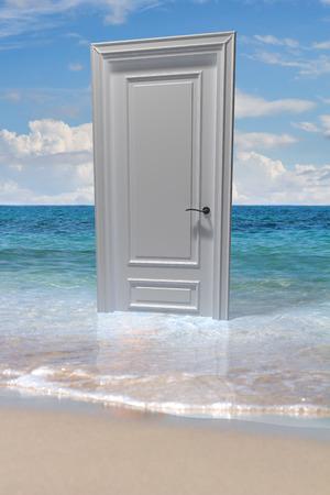 Closed door on water